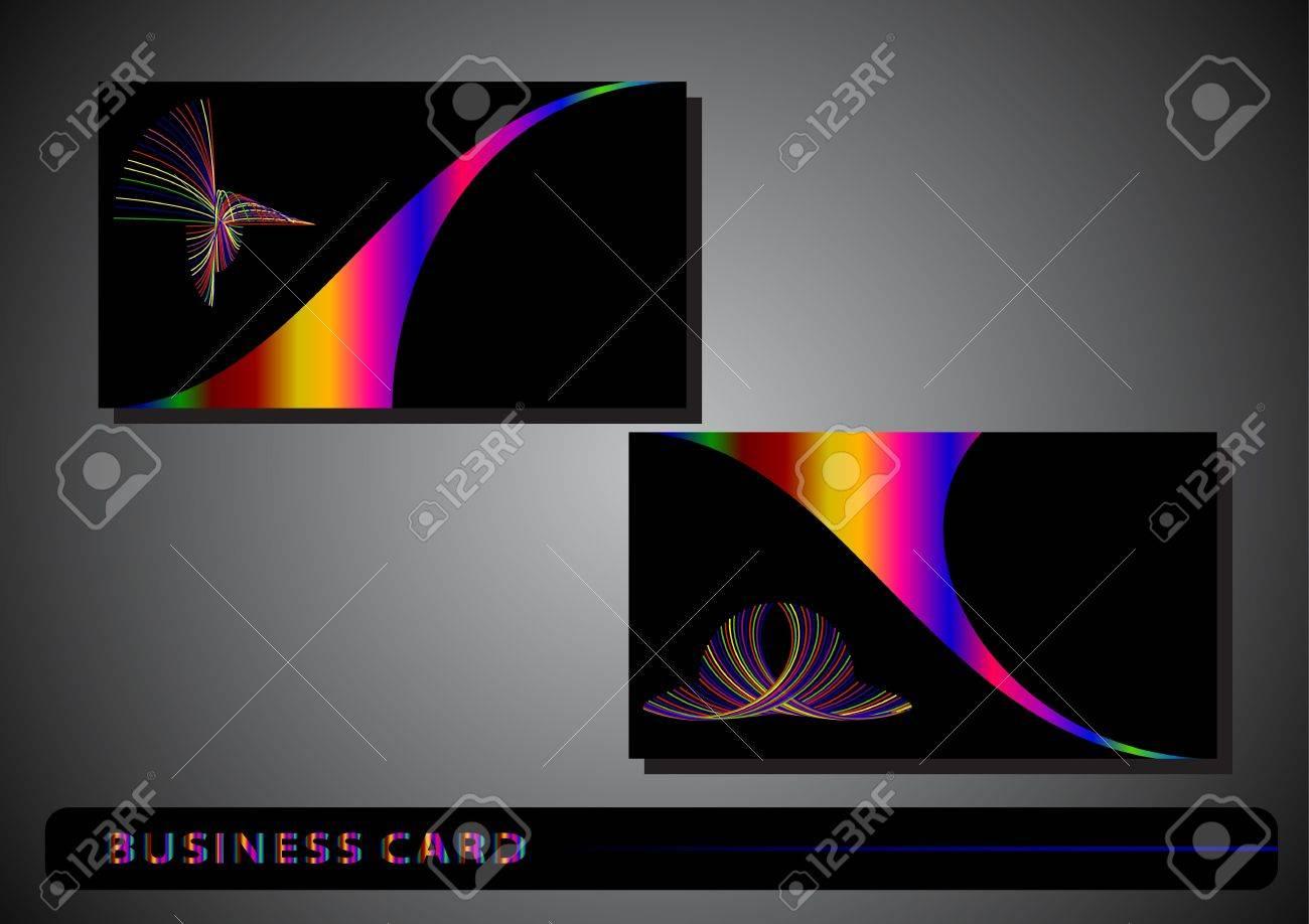 Carte De Visite Avec Un Logo Colore Sur Fond Noir Clip Art Libres
