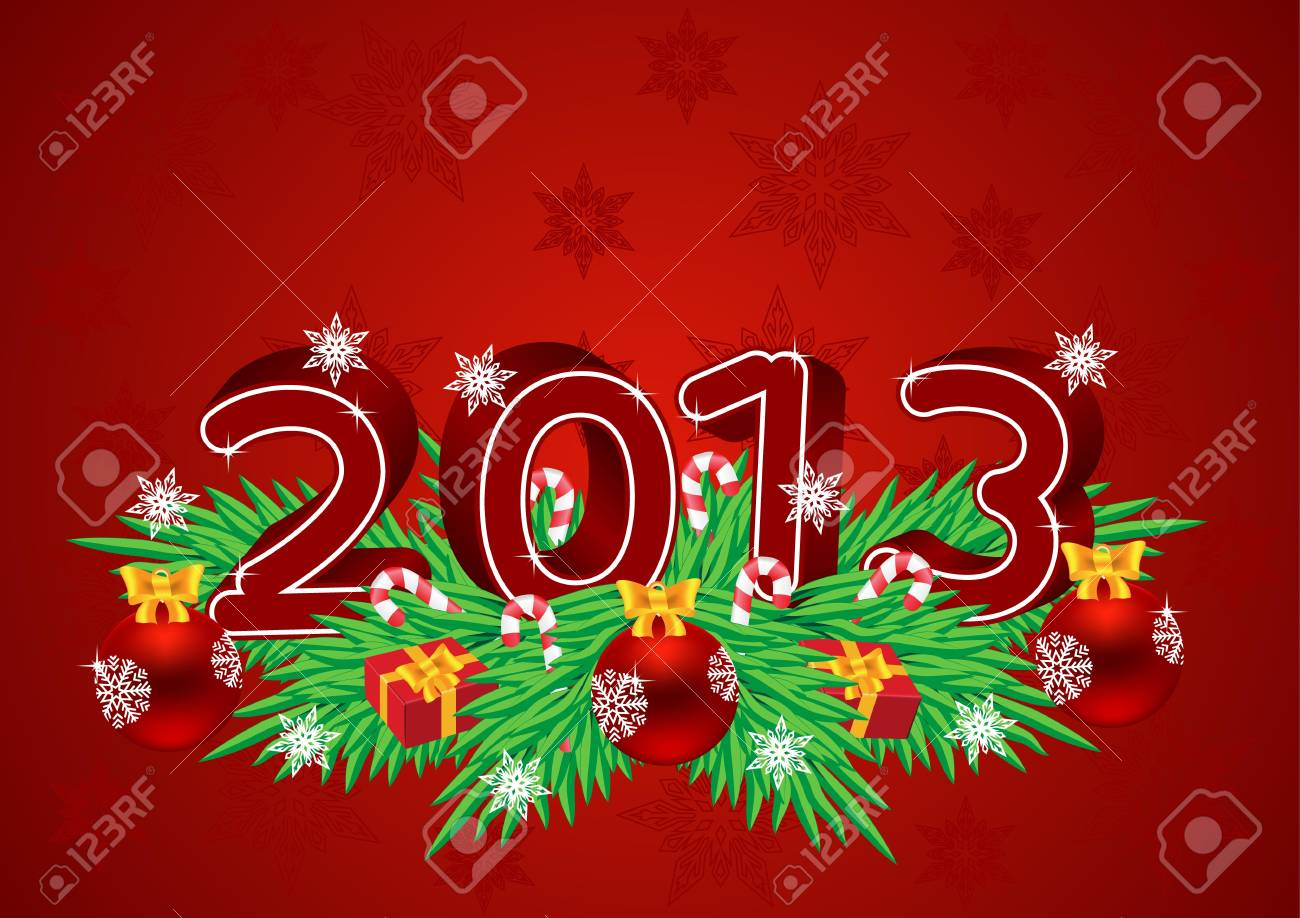 Greeting card for Christmas and New Year Stock Vector - 15010757
