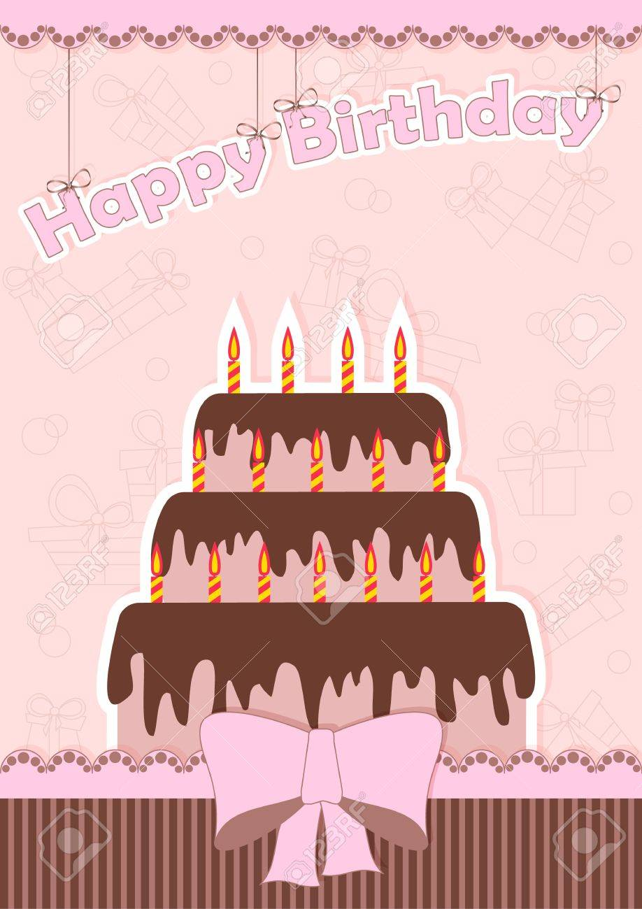 greeting card for birthday with chocolate cake and a bow Stock Vector - 16439383