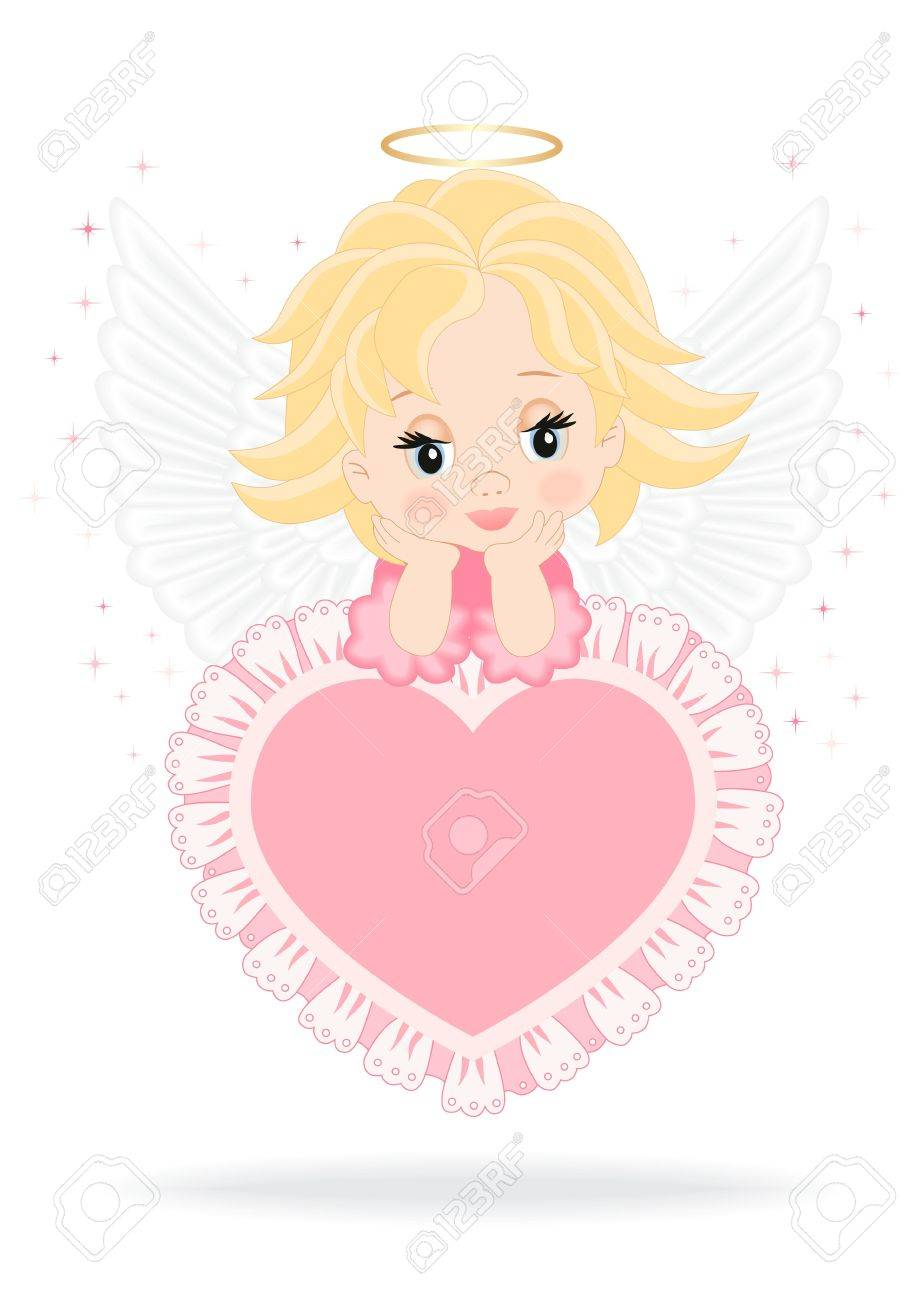 Angel sitting on a pink heart isolated on white background Stock Vector - 17148038