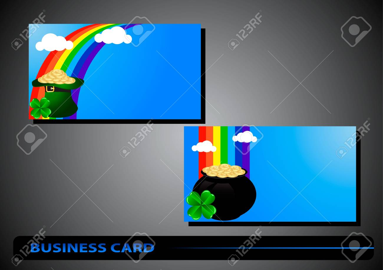 business card St. Patrick's Day with clover and golden coins Stock Vector - 17194034