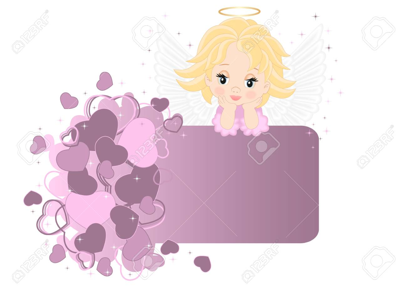greeting card with an angel on the heart Stock Vector - 17148036