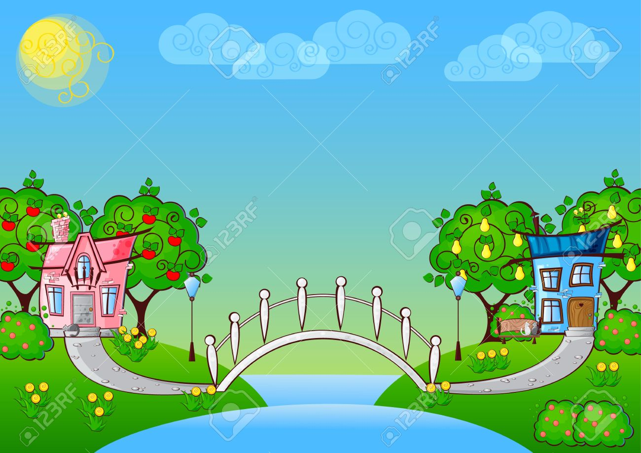 background with cartoon houses in love and a bridge over the river Stock Vector - 17314209