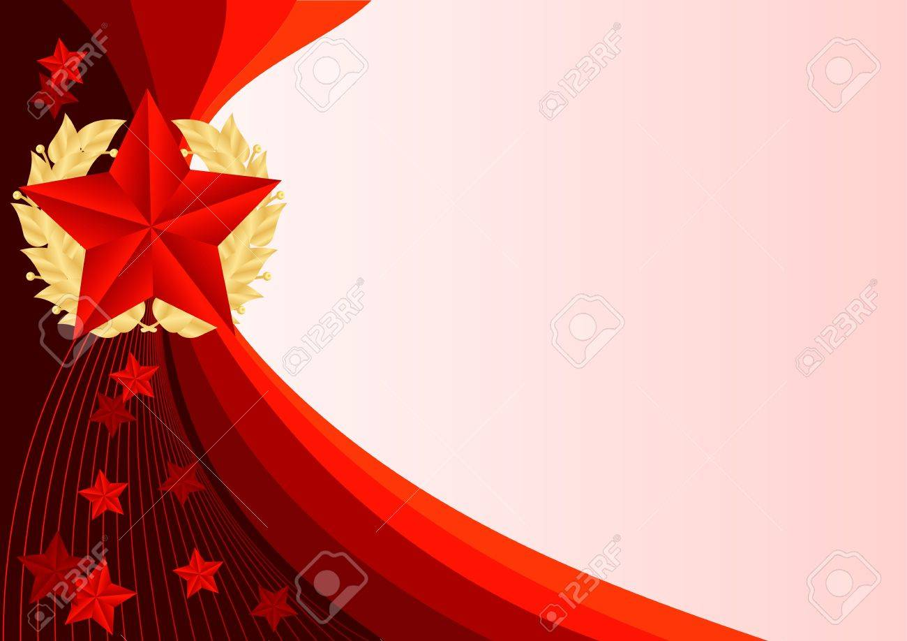 greeting card with ribbons and red stars Stock Vector - 17621861