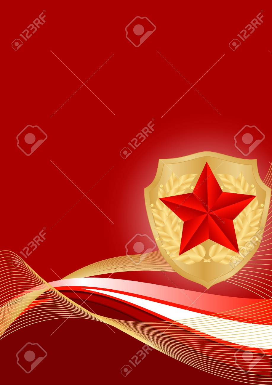 greeting card with ribbons and red stars Stock Vector - 17621875