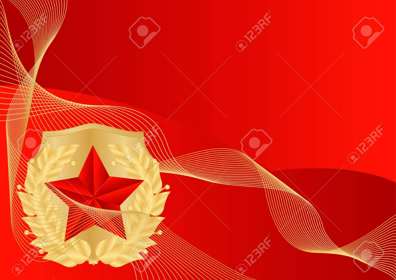 greeting card with ribbons and red stars Stock Vector - 17621871