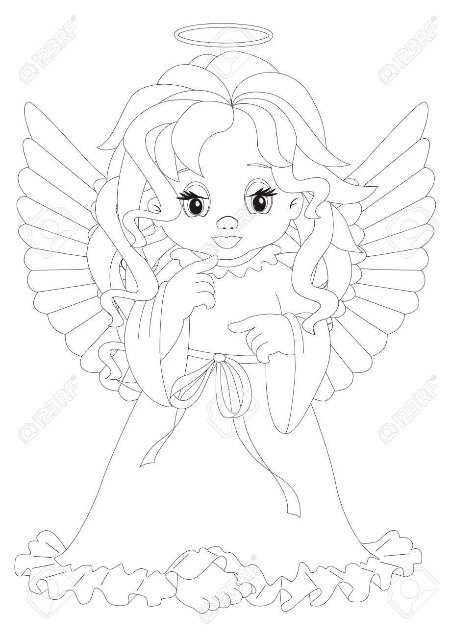 Malvorlage Engel Sitzen Vor Rosa Herzen Auf Weißem Hintergrund