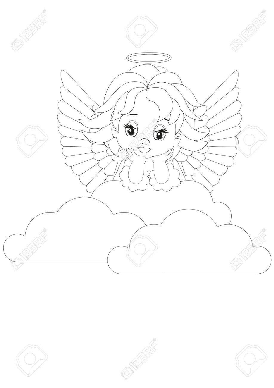 coloring page little angel in white clouds royalty free cliparts