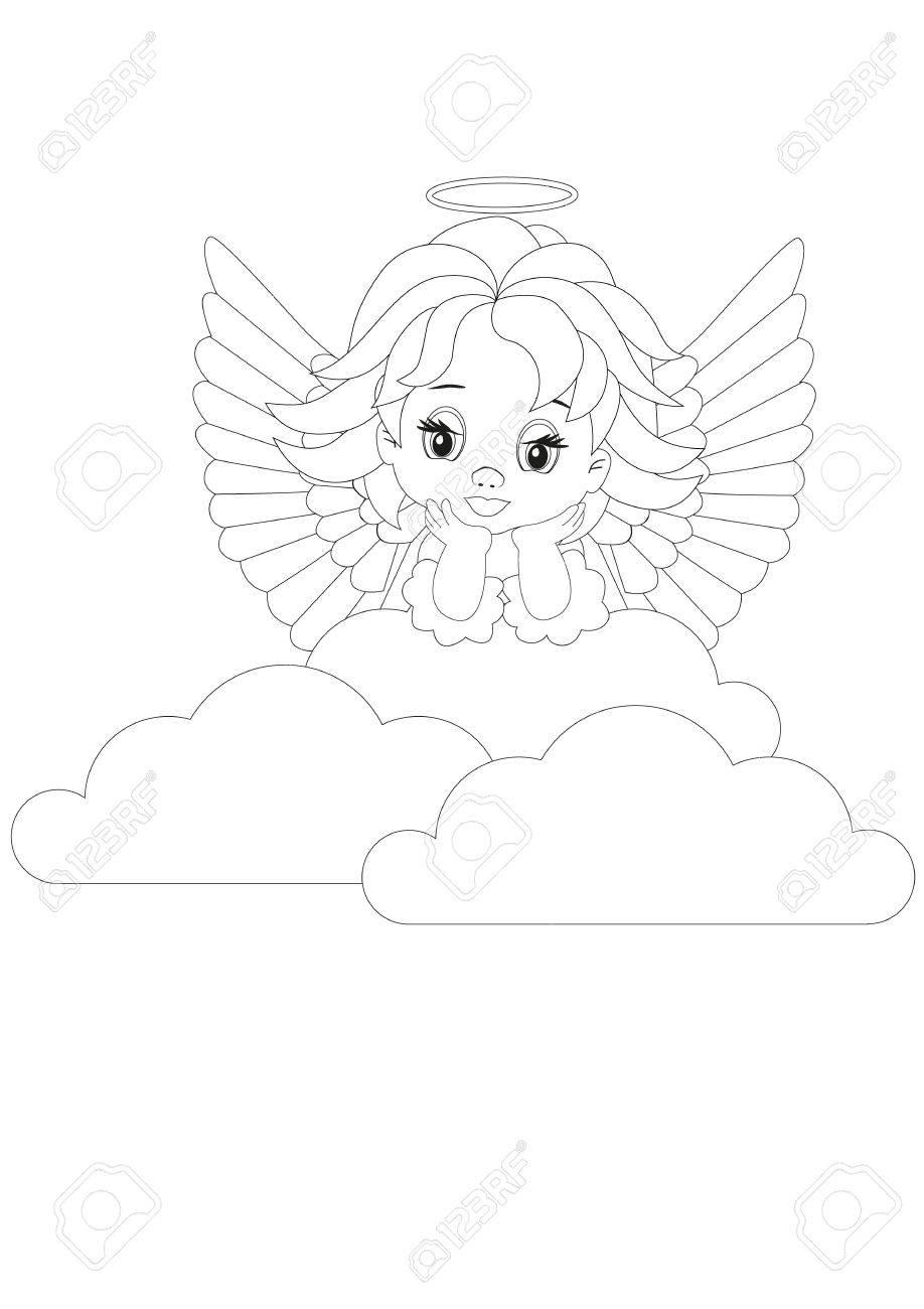 Dibujo Para Colorear Pequeño ángel En Las Nubes Blancas ...