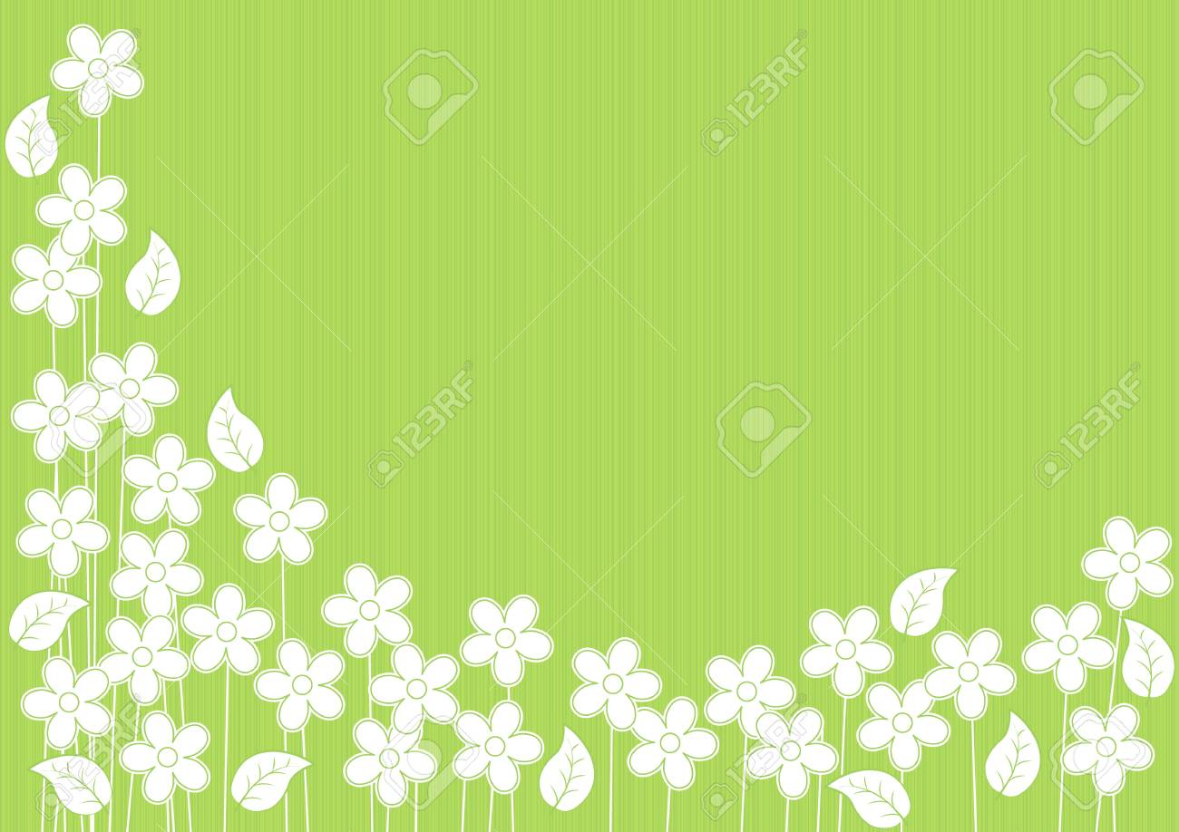 abstract green background with white flowers and leaves Stock Vector - 19981657
