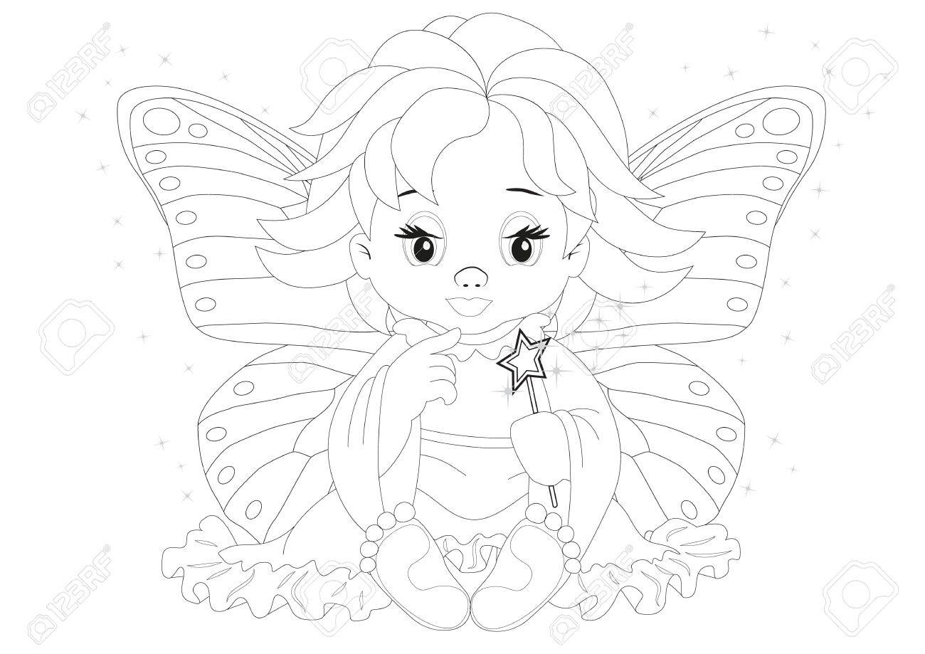 Coloring page magic fairy in dress isolated on white background Stock Vector - 20229778