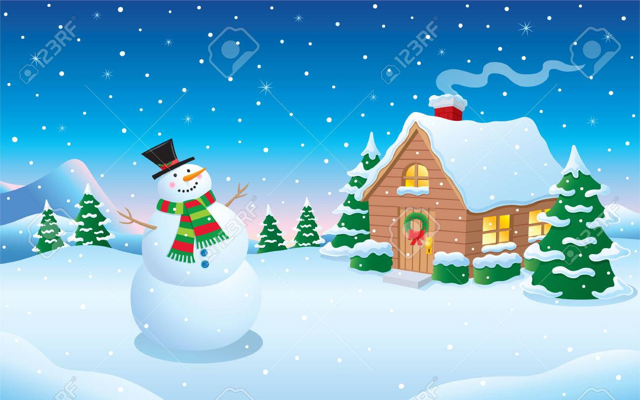 Snowman And Cabin Snow Scene Royalty Free Cliparts Vectors And