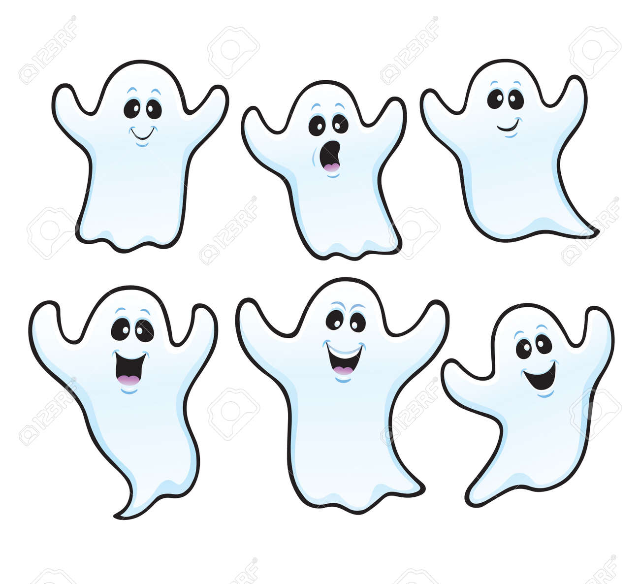 Six Spooky Ghosts For Halloween Royalty Free Cliparts Vectors