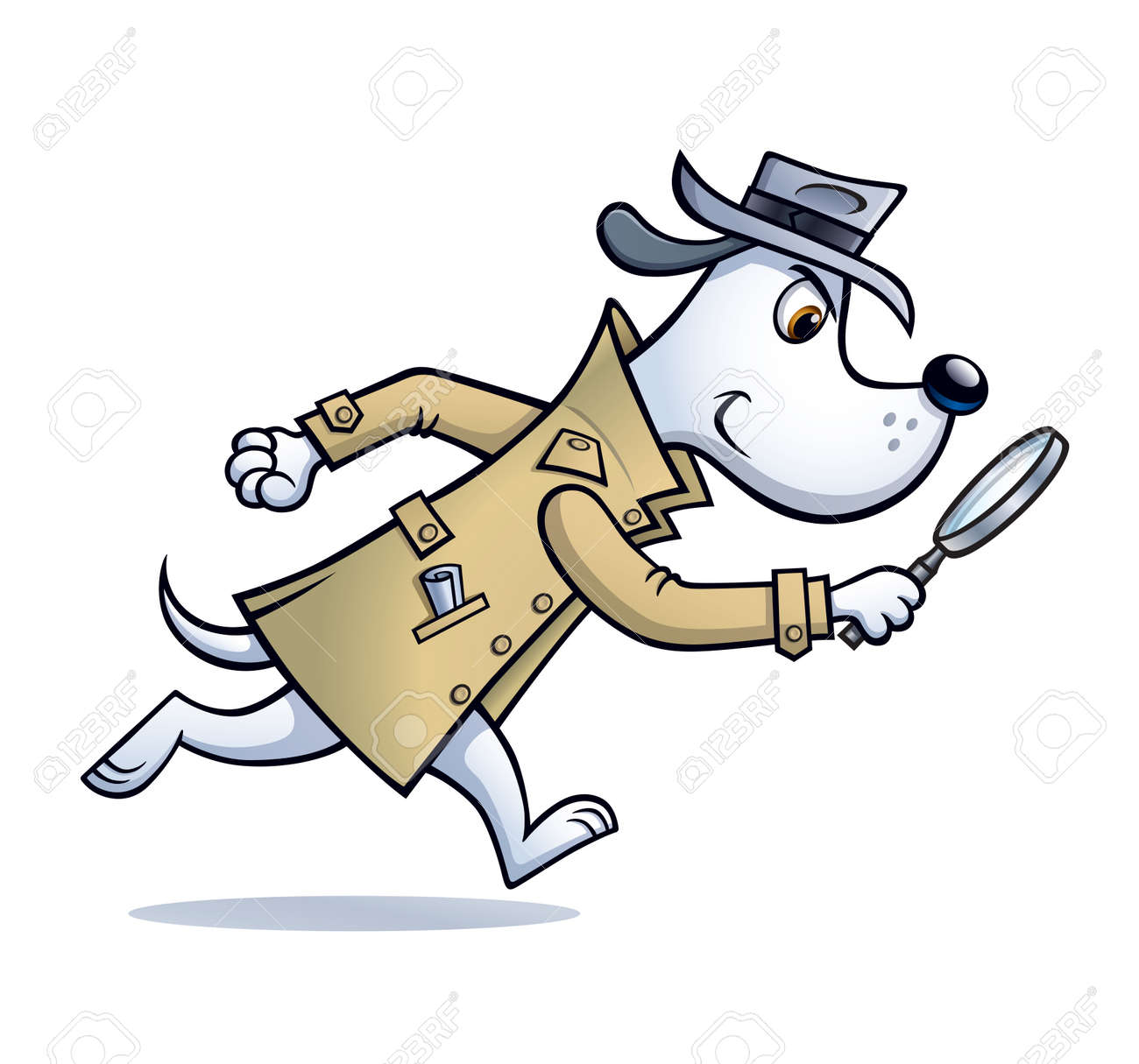 Cartoon of a dog detective character that is looking for clues with a magnifying glass and wearing a raincoat and hat. - 141150936