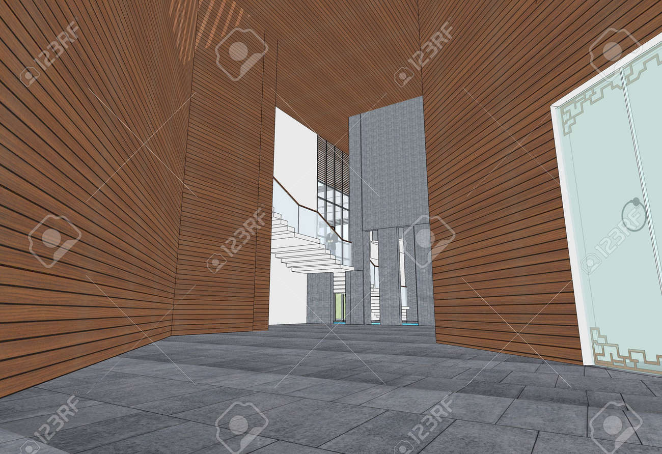 modern interior design (hall of building 3d rendering) Stock Photo - 4059263