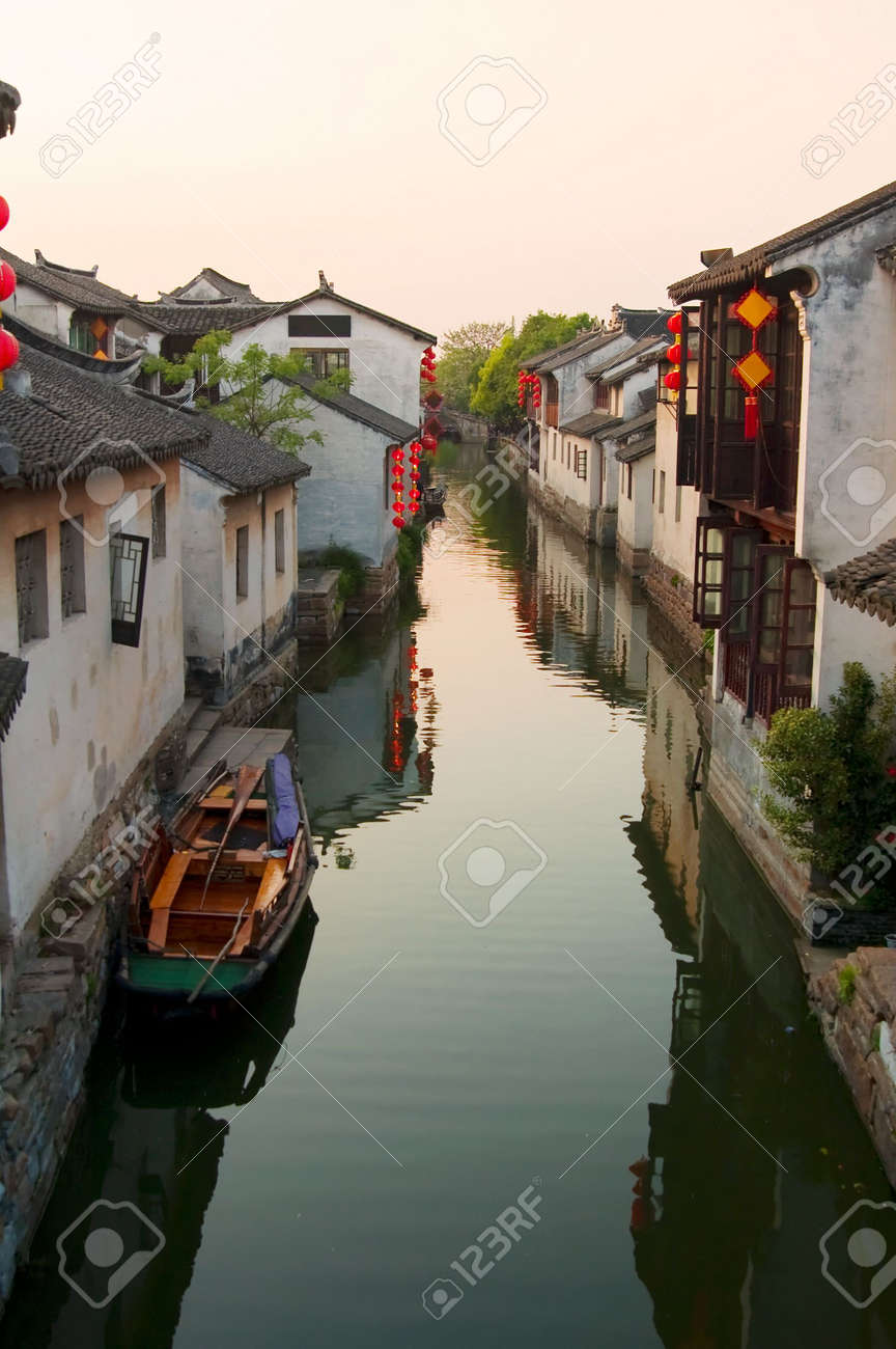 Famous water village Zhouzhuang in Jiangsu ,China. The houses  by the river are built several hundred years ago with a typical architectural style of the Ming and Qing Dynasties Stock Photo - 5048091
