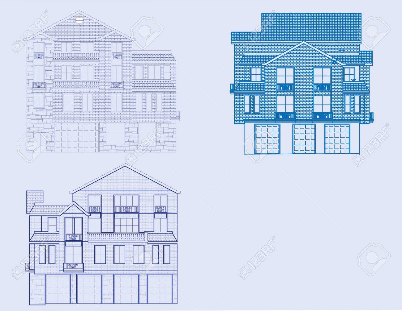 Front View Of hree Houses In Blueprint Form. oyalty Free ... - ^