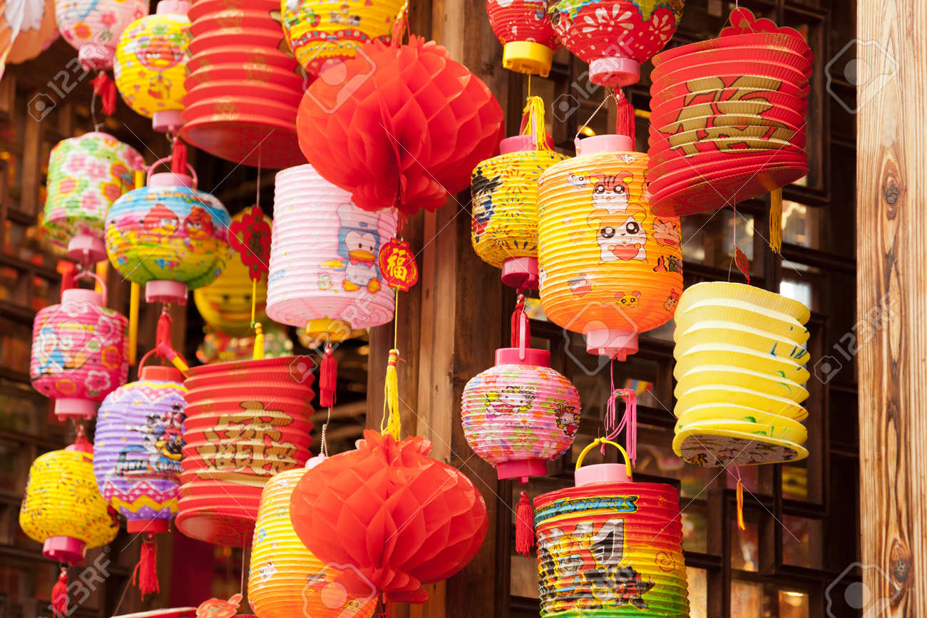 variety of colorful chinese paper lanterns in a street market