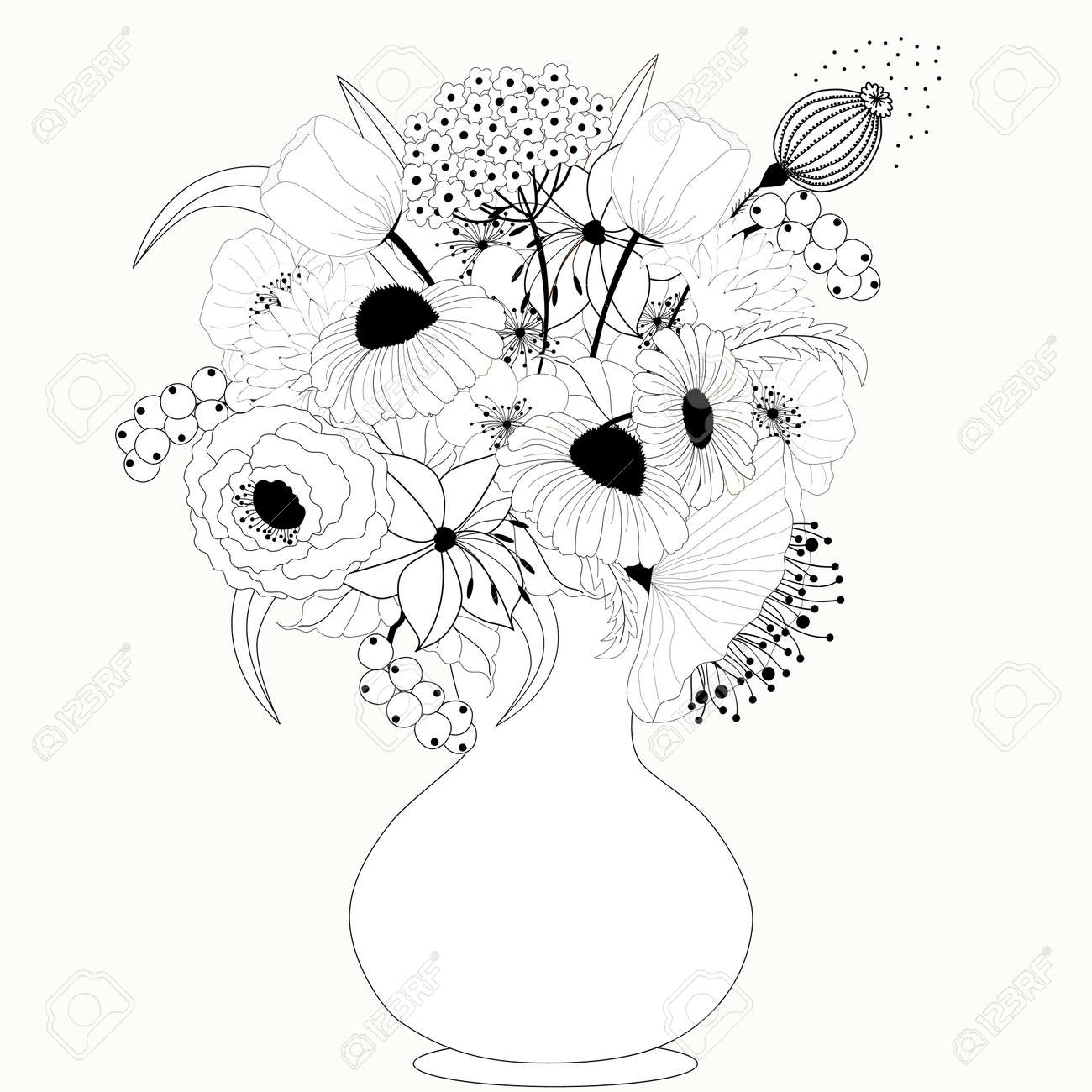 Black and white flowers royalty free cliparts vectors and stock black and white flowers stock vector 25237225 mightylinksfo