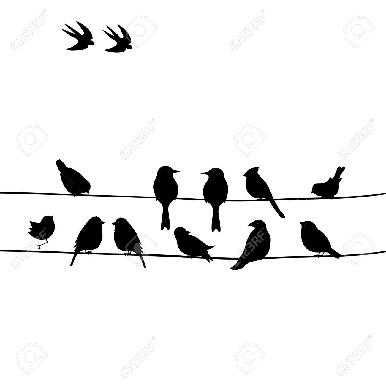 Cute Black Birds On A Wire Royalty Free Cliparts Vectors And Stock