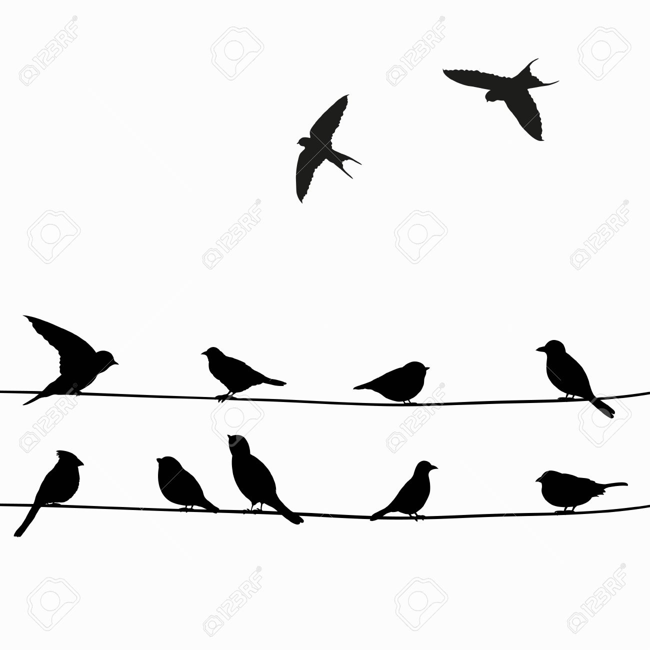 Cute Black Birds On A Wire Royalty Free Cliparts, Vectors, And Stock ...