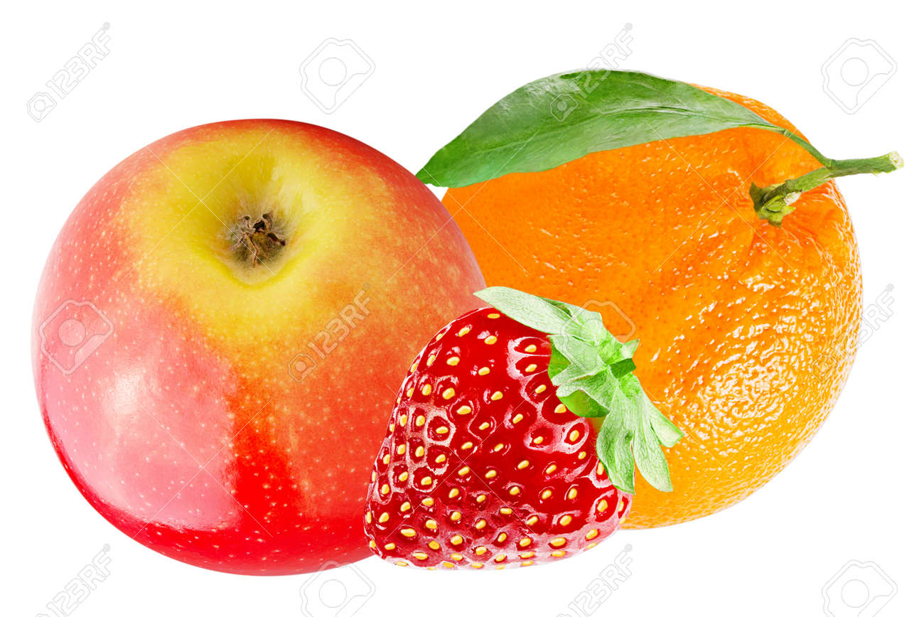 Isolated various fruits. Apple with orange and strawberry isolated on white background with clipping path Archivio Fotografico - 96408366