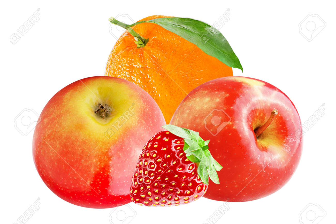 Isolated various fruits. Fresh apple with orange and strawberry isolated on white background Archivio Fotografico - 96176234