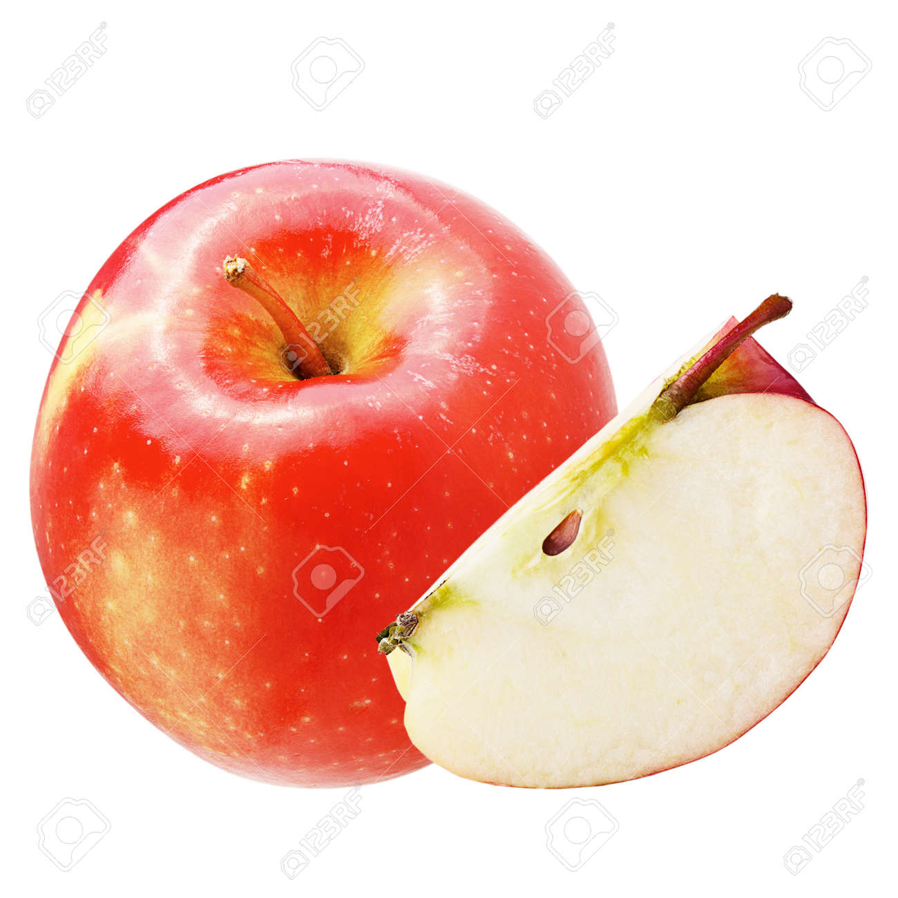 Isolated apples. Fresh apple isolated on white background with clipping path as package design element. Archivio Fotografico - 97027406
