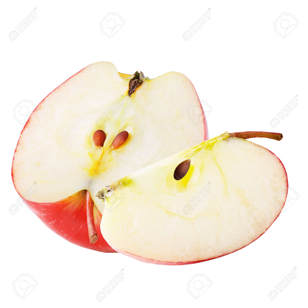 Isolated apples. Freshly slices apple isolated on white background with clipping path as package design element. Archivio Fotografico - 97018305