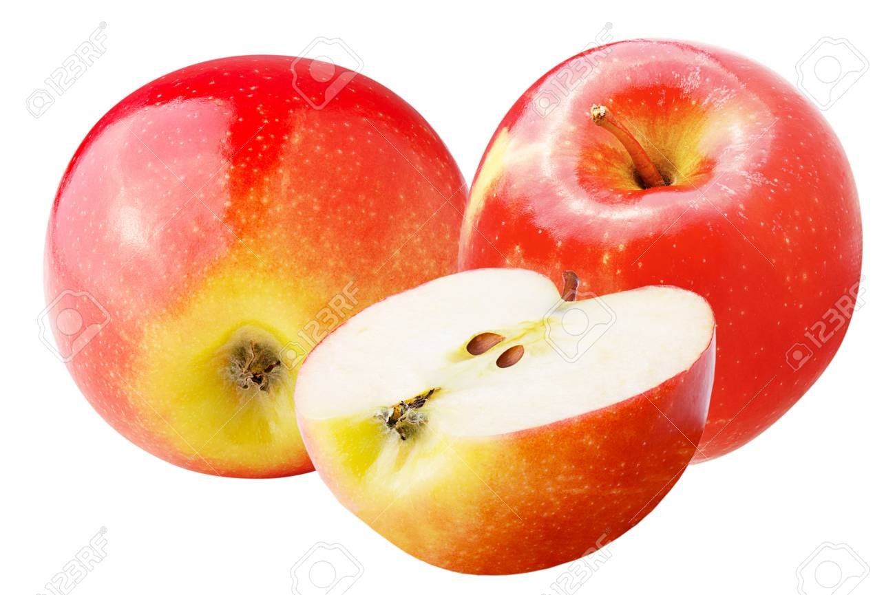 Isolated apples. Sweet apple isolated on white background with clipping path as package design element. Archivio Fotografico - 97021631