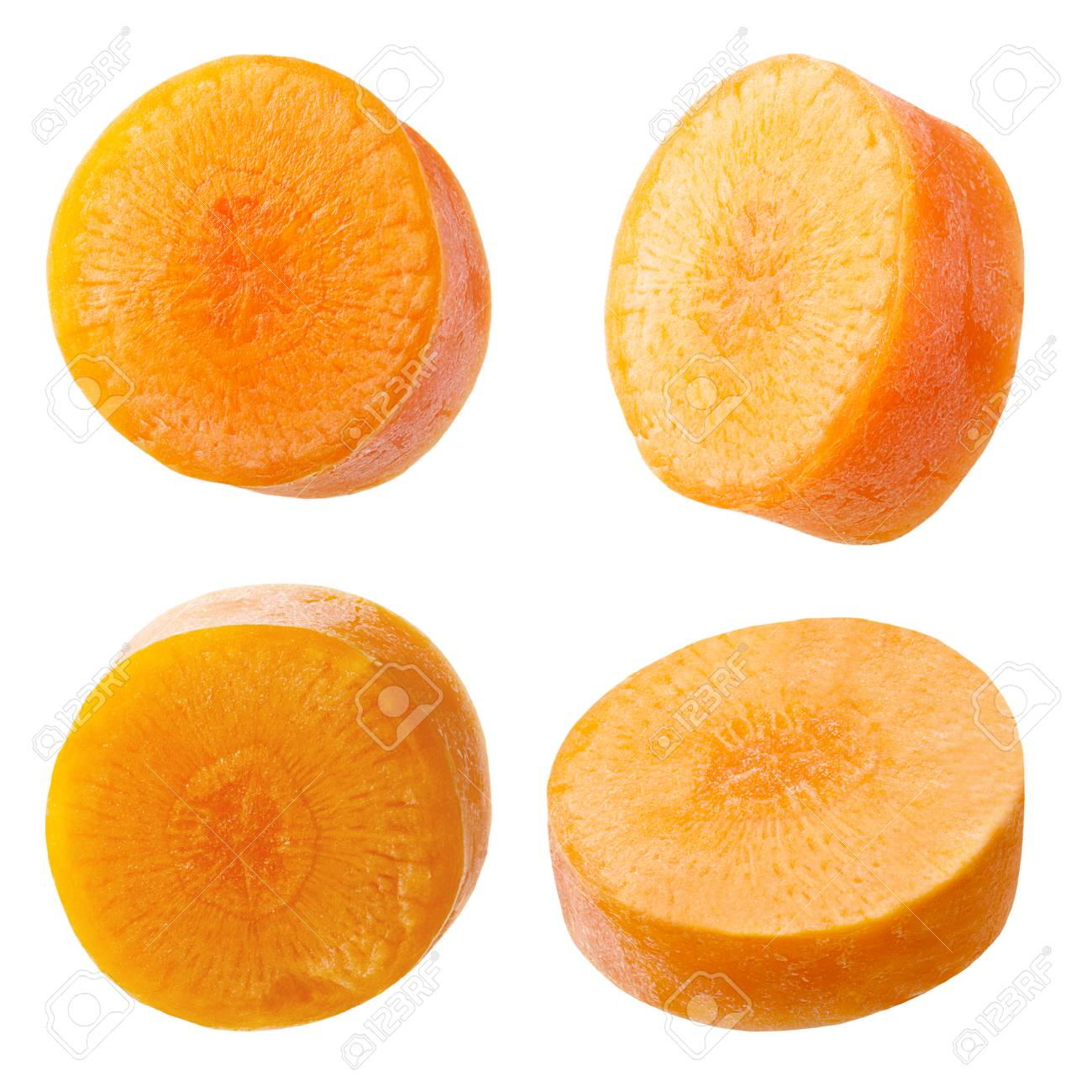 Isolated carrot. Set of freshly slices carrots  isolated on white background with clipping path as package design element. Archivio Fotografico - 97032513