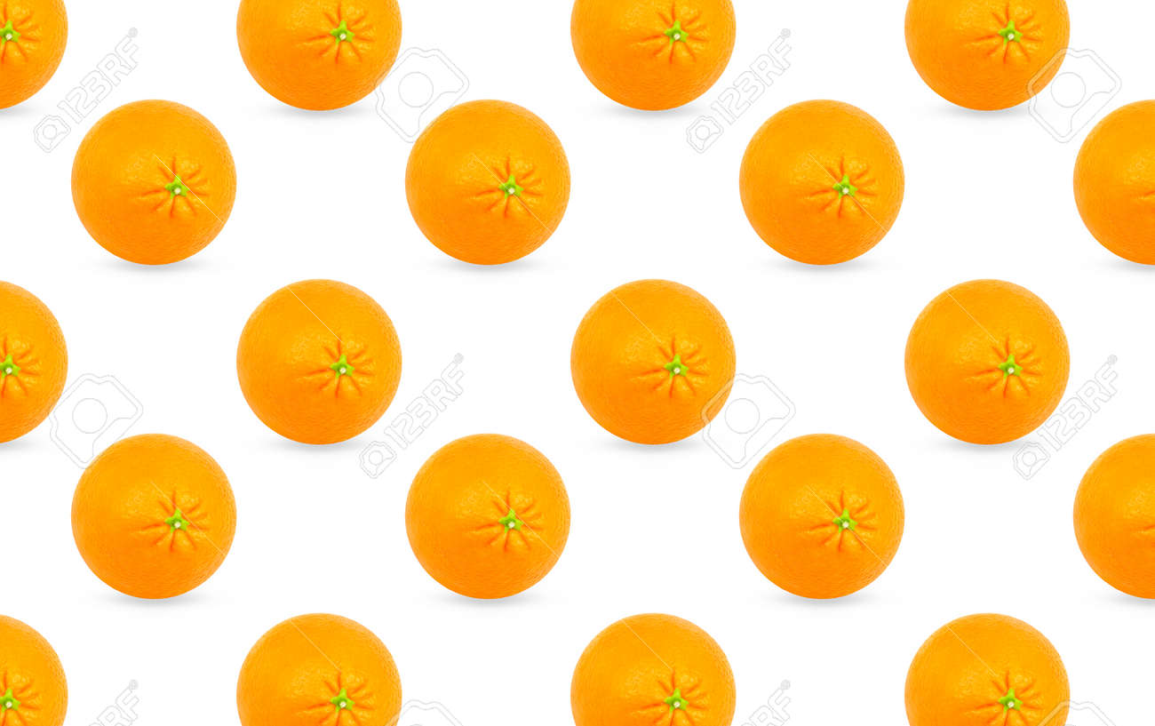 Whole orange fruits pattern on white background. Minimal flat lay food texture - 167270622