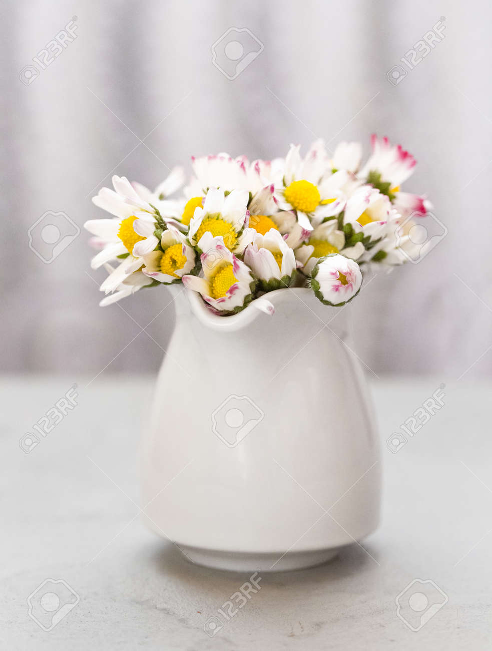 Beautiful daisy flowers in ceramic white vase on ultimate gray - 165777444