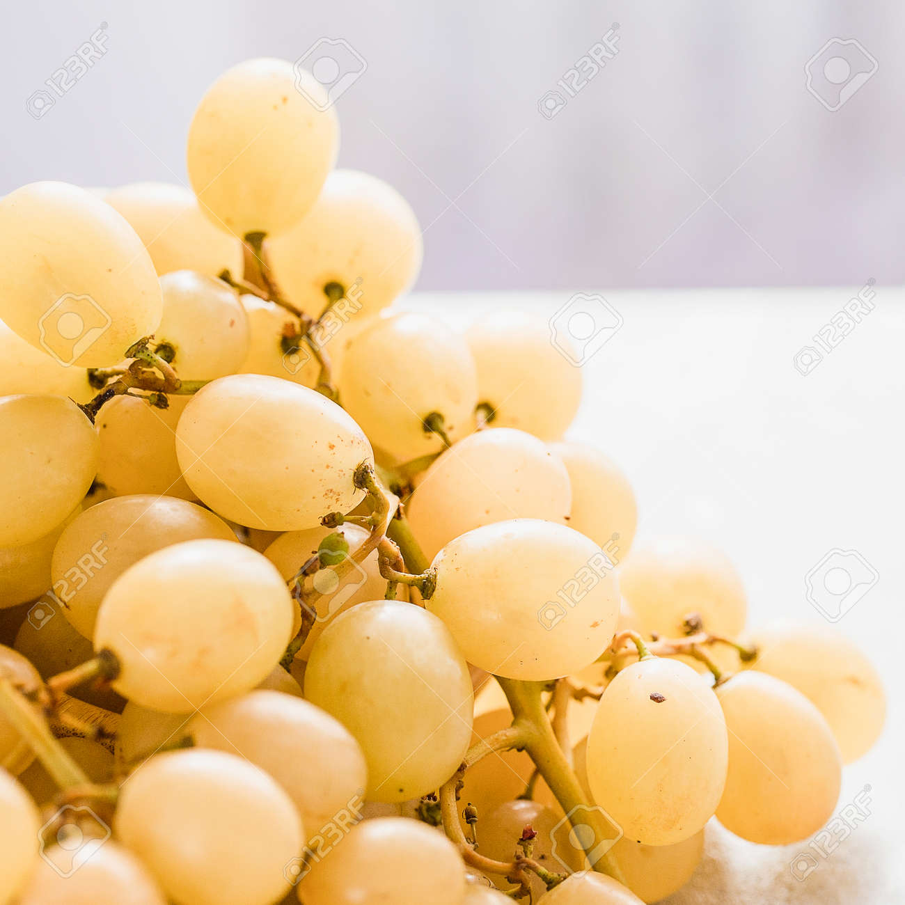 white grapes in a basket on a table - 166239703