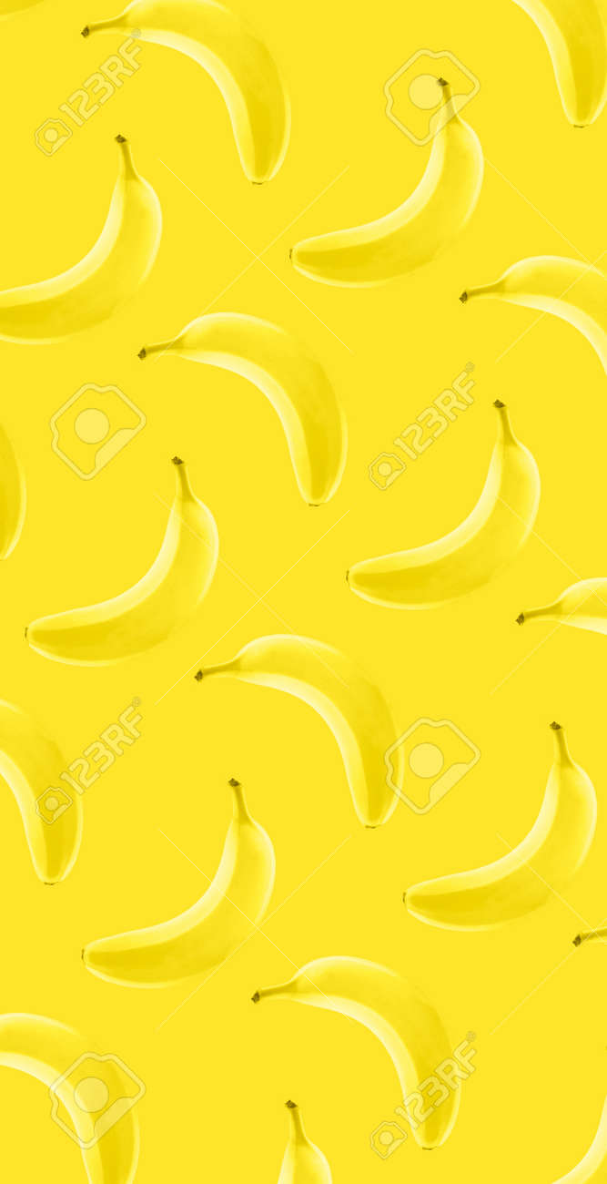 Whole banana fruit pattern on yellow color background - 166449903