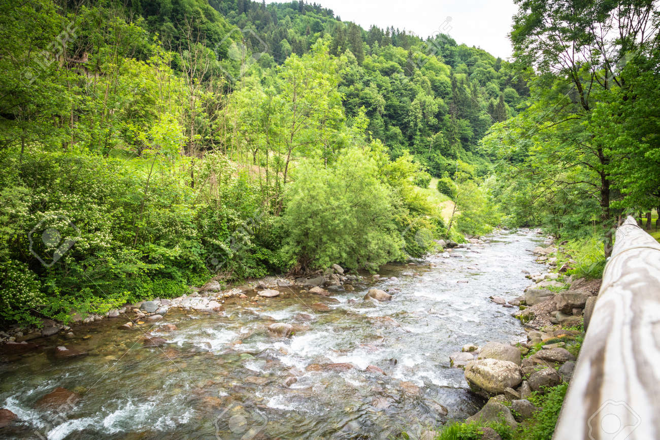 Mountain landscape with brook in middle of nature - 166783073