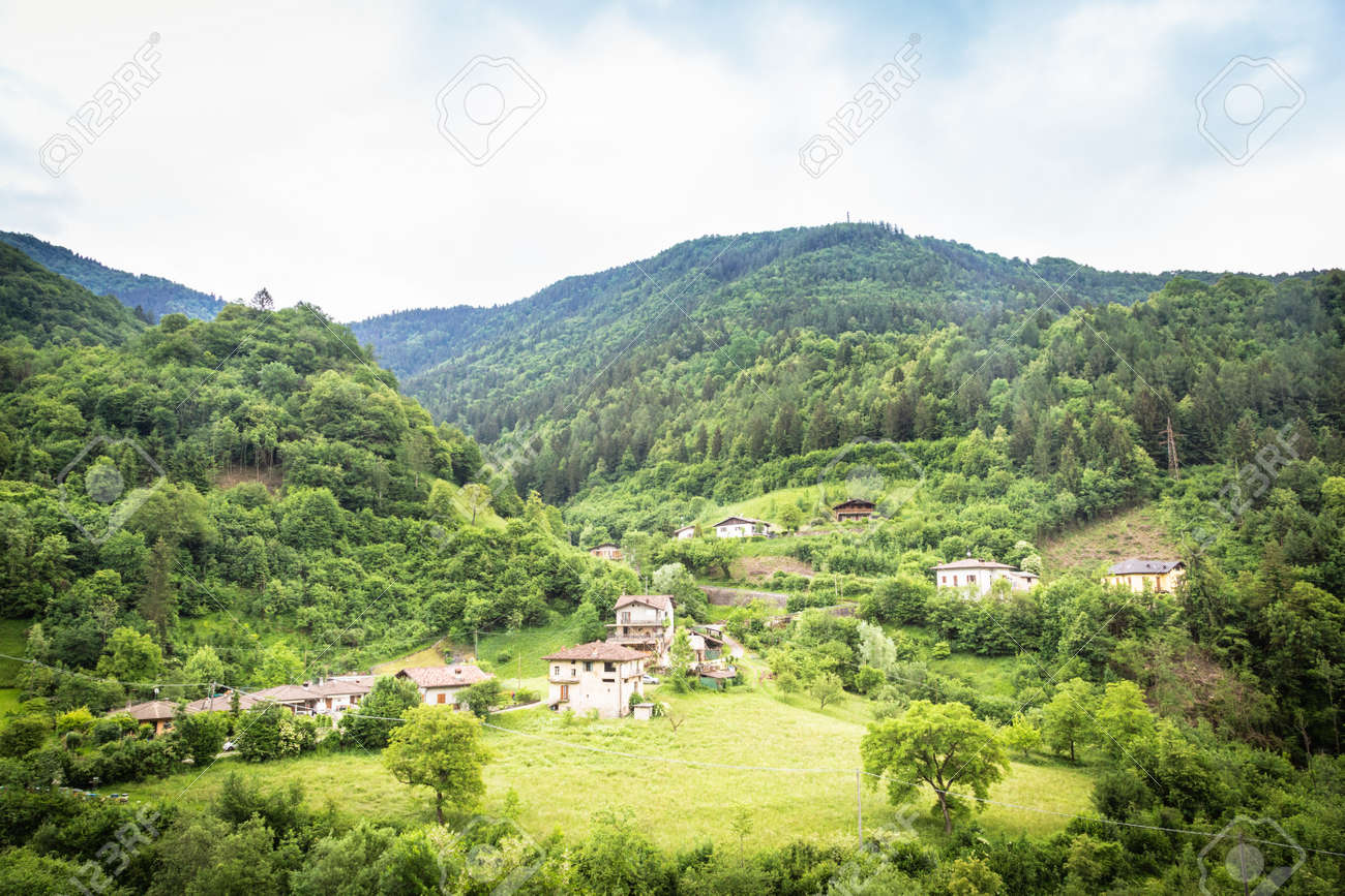 Mountain Houses in middle of wild nature - 166783076