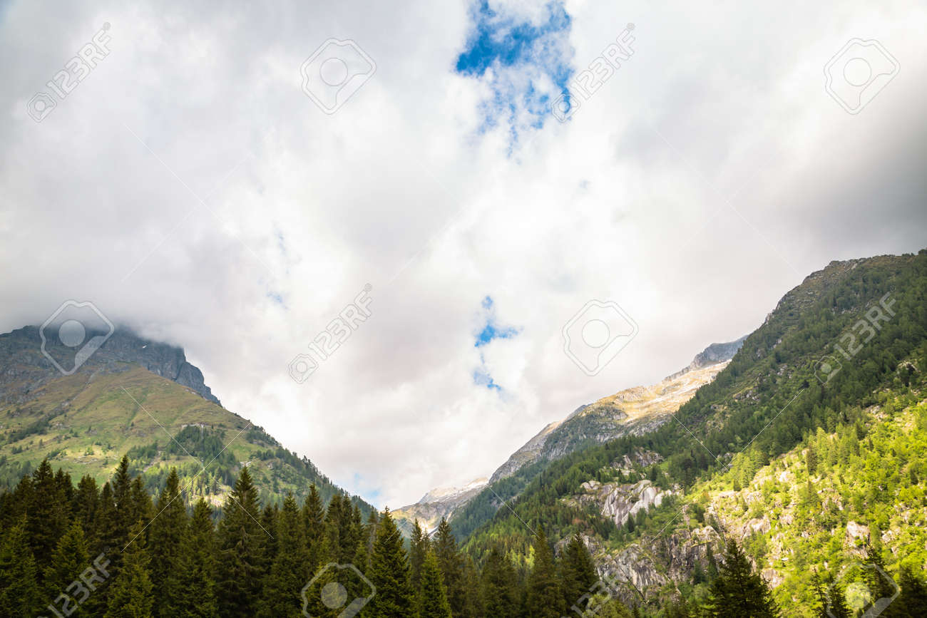 natural landscape with green mountain peaks in summer - 166783142