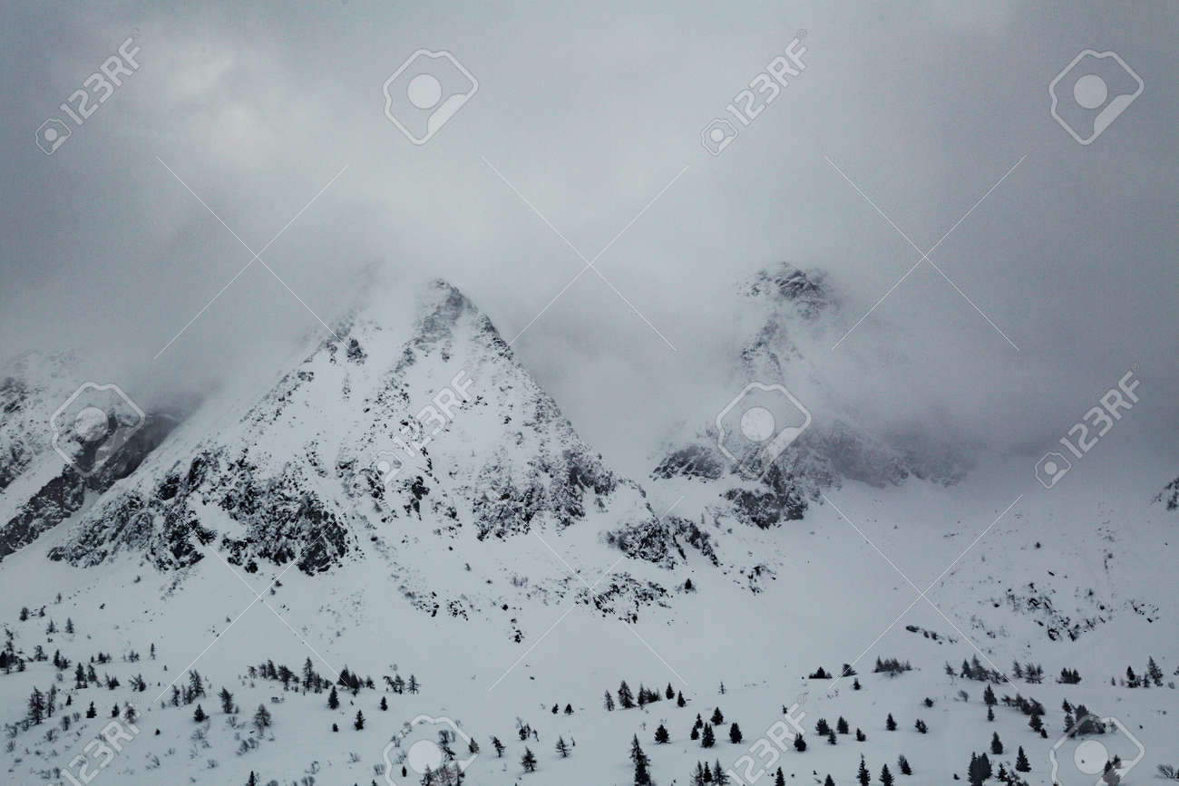 Winter landscape with lots of white snow. Concept of vacation during the winter holidays in the high mountains. Selective focus. - 166782660