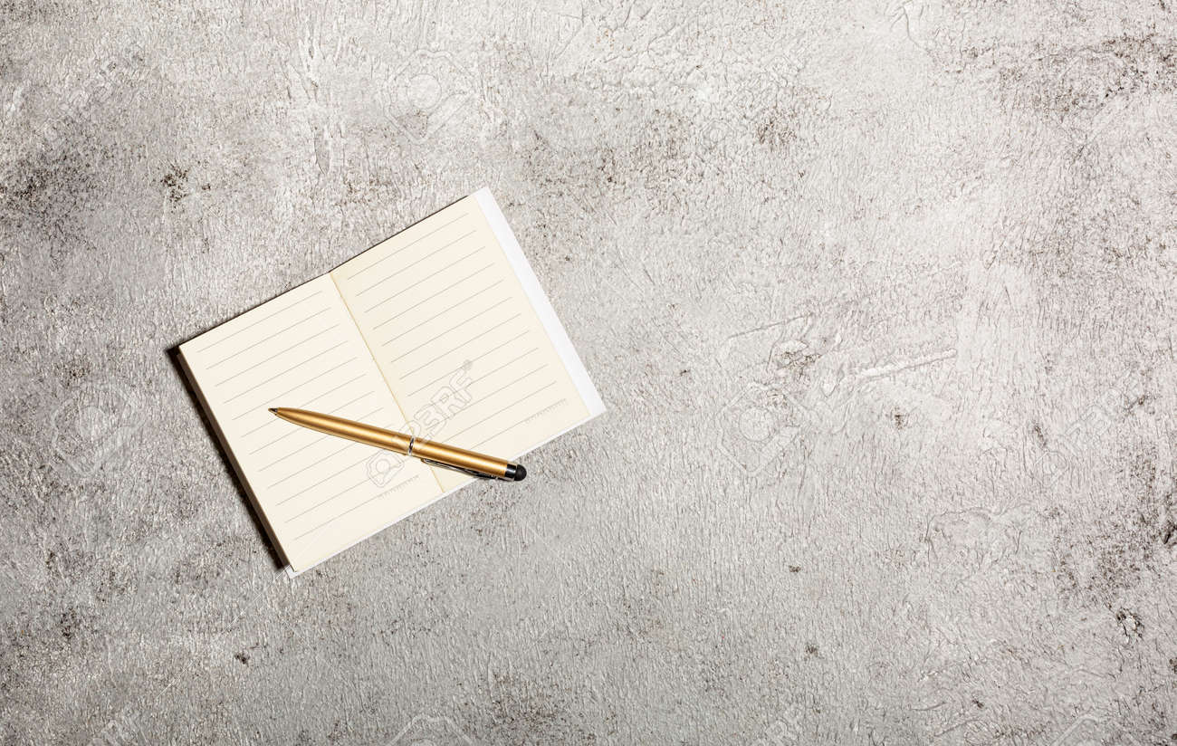 Mockup with open lined notebooks and pen isolated on concrete background - 166782776