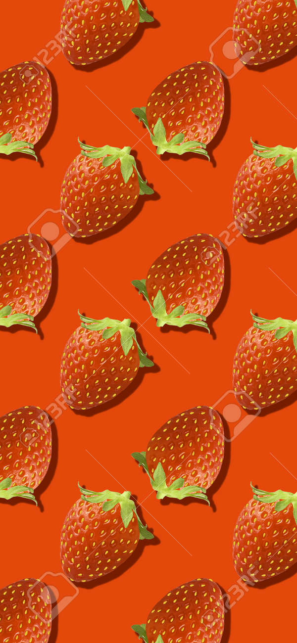 Whole strawberry fruit pattern on red color - 167779793