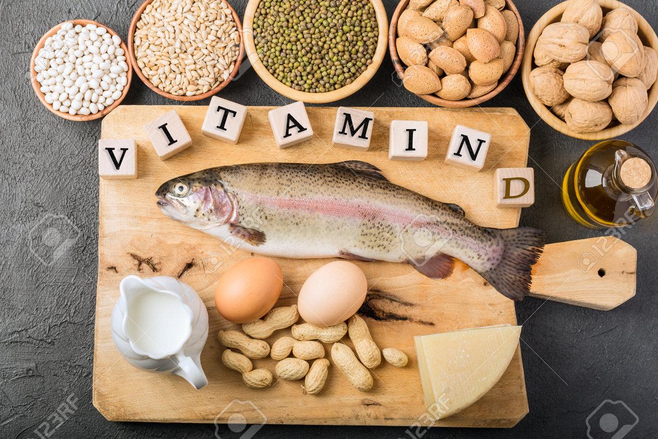 Different foods ingredients rich in vitamin D - 167779819