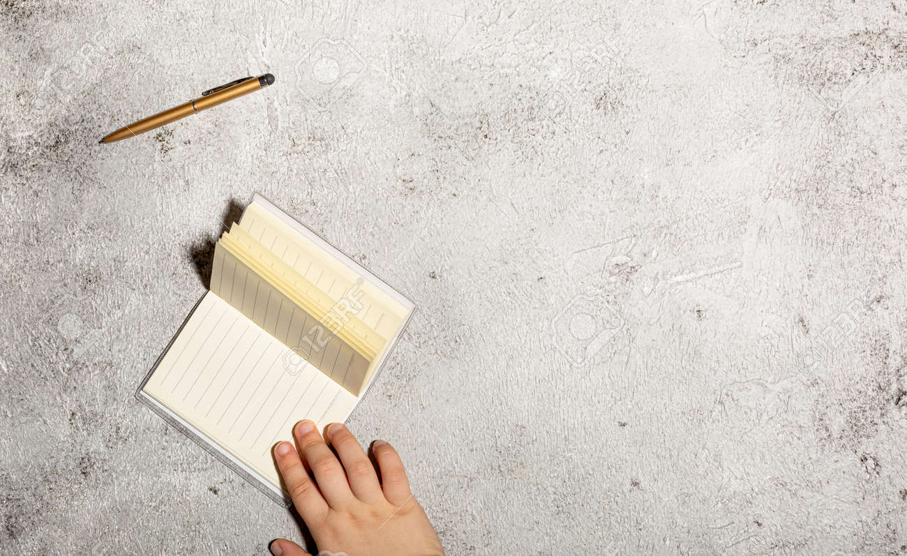 Mockup with open lined notebooks and pen isolated on concrete background - 167780036