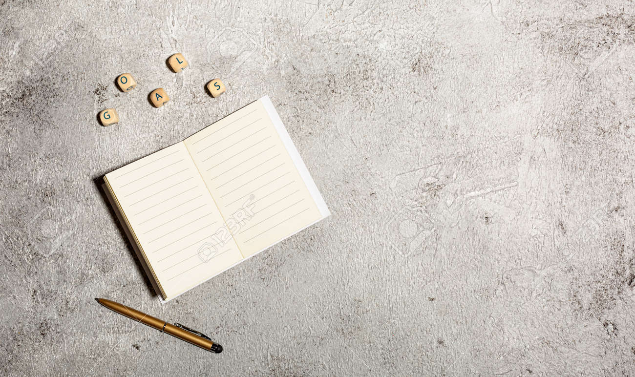 Mockup with open lined notebooks and pen isolated on concrete background - 167780037