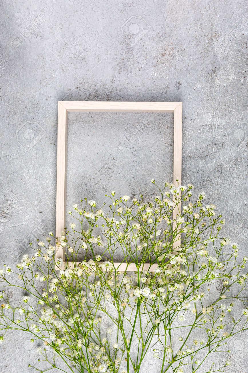 Creative banner with fresh white babys breath flower - 167780046