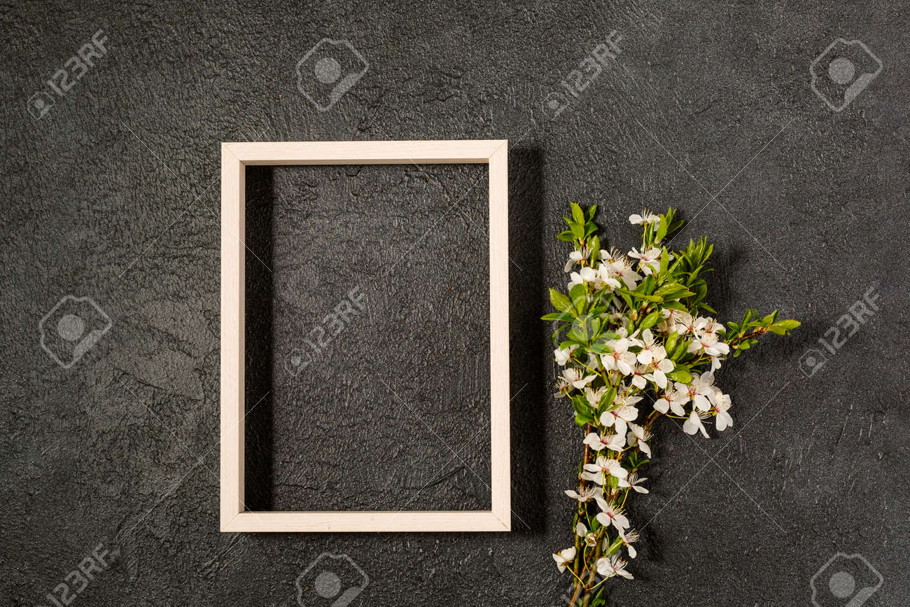 spring background with fresh flower on black - 167780050