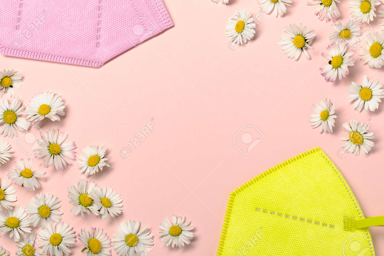 Creative flat lay with daisy flowers and pink fpp2 or KN95 mask - 167780061