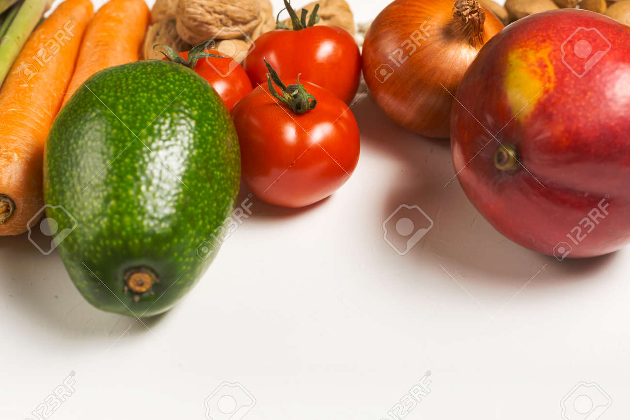 Healthy food clean eating on white background with copy space - 167780062