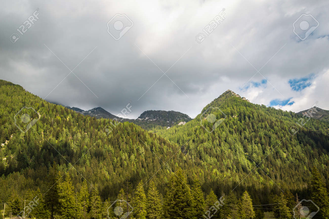 natural landscape with green mountain peaks in summer - 171980444