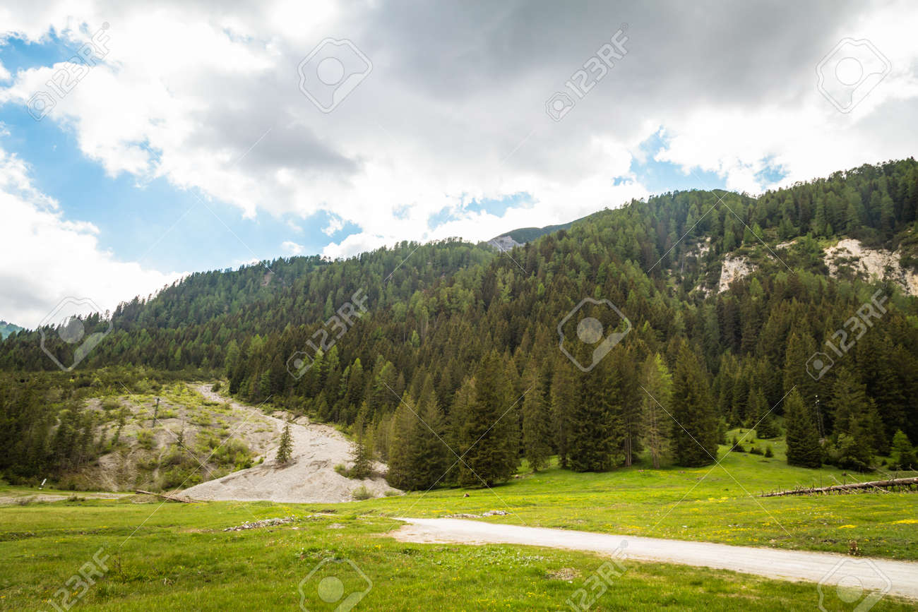 natural landscape with green mountain peaks in summer - 171980379